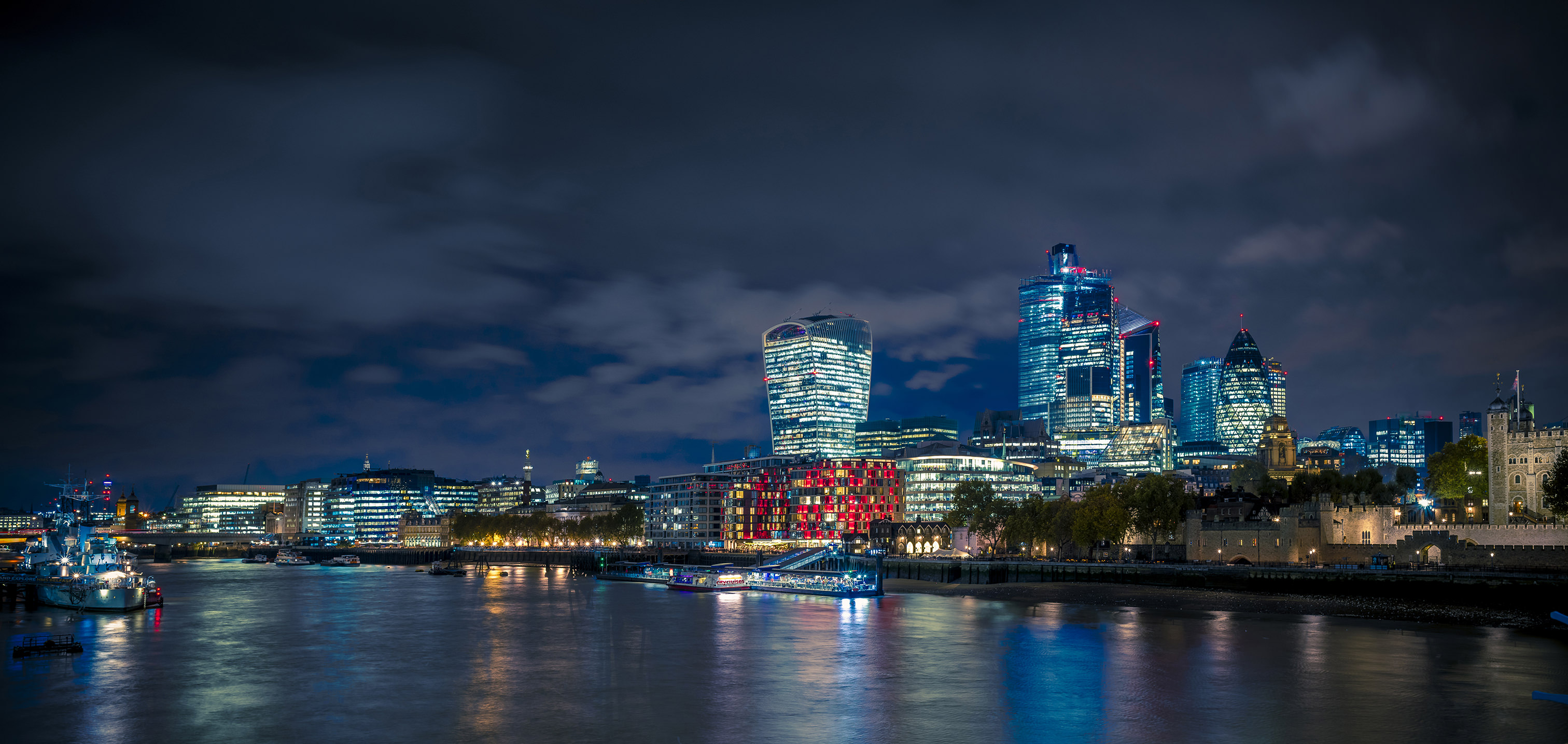 London city at night from the Tower Bridge