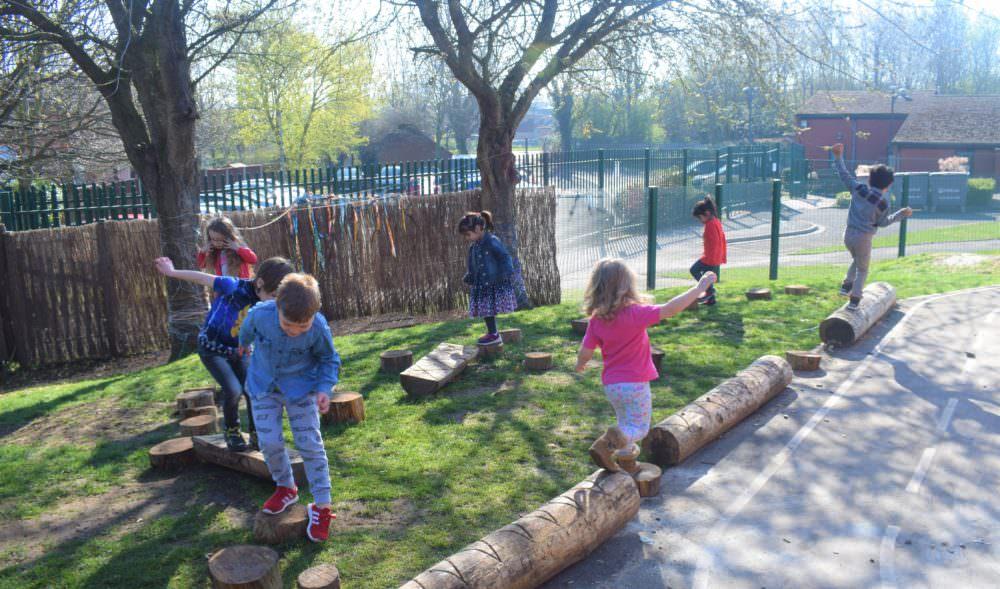 Telford school nursery creates woodland play area, with our