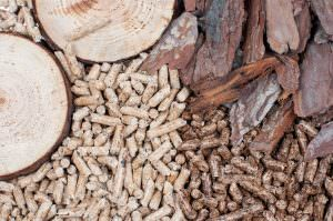 Wood pellet next to bark and wood rounds